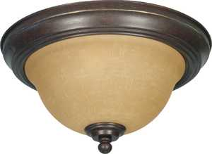 Satco Nuvo Lighting 60-1037 Flush Mount Ceiling Light With Champagne Glass In Sonoma Bronze