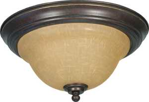 Satco Nuvo Lighting 60-1038 Flush Mount Ceiling Light With Champagne Glass In Sonoma Bronze