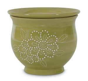 New England Pottery 100511347 6-Inch Avalawn Textured Floral Self-Watering Planter