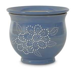 New England Pottery 100511349 Textured Selfwatering Planter With Flower Periwinkle 6 in
