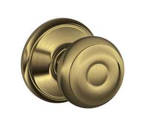 SCHLAGE LOCK CO/MID AM F10VGEO609 Georgian Knob Hall & Closet Lock Antique Brass