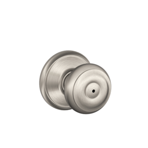 SCHLAGE LOCK CO/MID AM F40VGEO619 Georgian Knob Bed & Bath Lock Satin Nickel