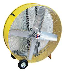 Selecture 10265 36 In Yellow Belt Driven Drum Fan 5 AMPs 2/3 Hp