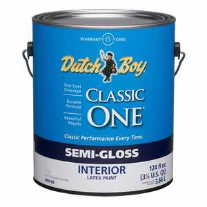 Dutch Boy 1.0048307-16 Classic One Interior Latex Paint Semi-Gloss Ultra White Gallon