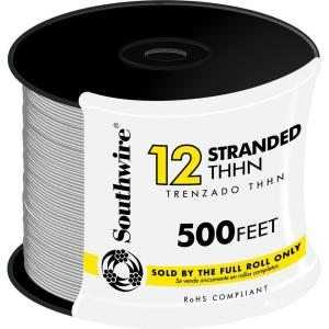 Southwire 22965858 12 Awg Thhn Electrical Wire Stranded White 500 ft