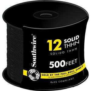 Southwire 11587358 12 Awg Thhn Electrical Wire Solid Black 500 ft