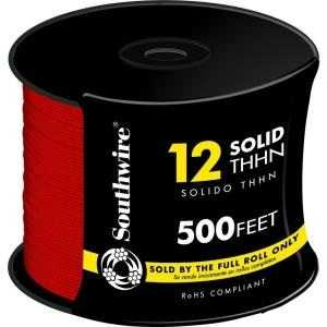 Southwire 11589958 12 Awg Thhn Electrical Wire Solid Red 500 ft