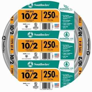 Southwire 13056755 10/2 Uf-B Electrical Cable With Ground 250 ft