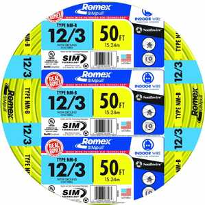 Southwire 63947622 12/3 Nm-B Electrical Cable With Ground 50 ft