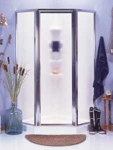 ASB Corp 403306 White Neo-Angle Shower Kit Chrome/Obscure