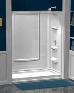 ASB Corp 39614 Eleganza 48 in White Direct-To-Stud Shower Wall