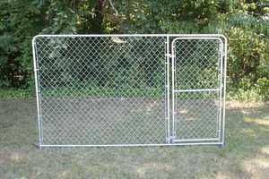 STEPHENS PIPE & STEEL DKS21206 12 ft x 6 ft Silver Series Galvanized Steel Kennel Panel with Gate