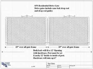 STEPHENS PIPE & STEEL GTB14448 12 ft X 4 ft 12.5 Gauge Galvanized Steel Bent Frame Drive-Thru Residential Fence Gate
