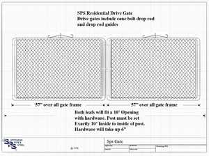 STEPHENS PIPE & STEEL GTB12060 10 ft X 5 ft 12.5 Gauge Galvanized Steel Bent Frame Drive-Thru Residential Fence Gate