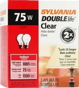 Sylvania/Osram/LEDVANCE 11175 75w Incandescent Bulb Clear Double Life 2pk