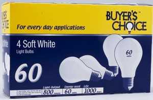 Sylvania/Osram/LEDVANCE 11753 60w Buyer Choice Incandescent Bulb 4pk