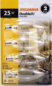 Sylvania/Osram/LEDVANCE 13306 25w Double Life Decor Bulb Clear Small Base 4 Pack