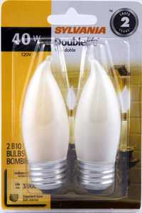 Sylvania/Osram/LEDVANCE 13322 40w Double Life Decor Bulb White Reg Base 2pk