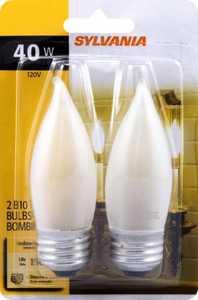 Sylvania/Osram/LEDVANCE 13441 40w White Incandescent Decor Bulb Reg Base 2 Pack