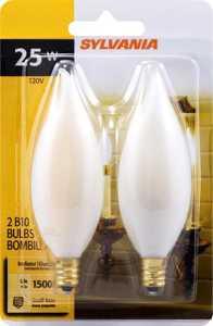 Sylvania/Osram/LEDVANCE 13453 25w White Incandescent Decor Bulb Small Base 2 Pack