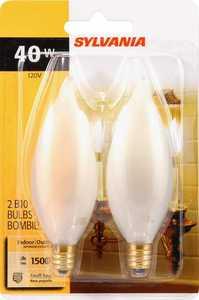 Sylvania/Osram/LEDVANCE 13457 40w White Incandescent Decor Bulb Small Base 2 Pack
