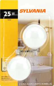 Sylvania/Osram/LEDVANCE 13622 25w White Incandescent Globe 2 In Small Base 2 Pack