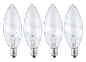 Sylvania/Osram/LEDVANCE 13647 25w Clear Incandescent Decor Bulb Small Base 4 Pack