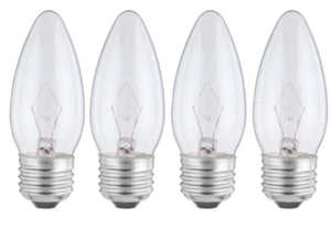 Sylvania/Osram/LEDVANCE 13654 25w Clear Incandescent Decor Bulb Reg Base 4 Pack