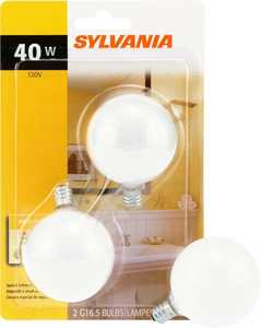Sylvania/Osram/LEDVANCE 13667 40w White Incandescent Globe 2 In Small Base 2 Pack