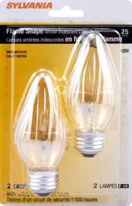 Sylvania/Osram/LEDVANCE 13823 25w Incandescent Flame Bulb Amber Reg Base 2 Pack