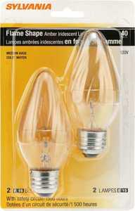 Sylvania/Osram/LEDVANCE 13986 40w Incandescent Flame Bulb Amber Reg Base 2 Pack