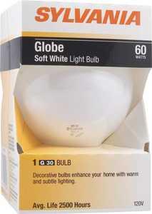 Sylvania/Osram/LEDVANCE 14406 60w White Incandescent Globe 4 In Reg Base 1pk