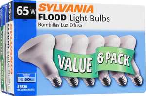 Sylvania/Osram/LEDVANCE 15270 6-Pack 65w Frost Finish Incandescent Bulbs Br30