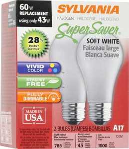 Sylvania/Osram/LEDVANCE 19009 43w Halogen Bulb 43a17hal 2 Pack