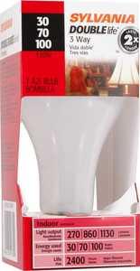 Sylvania/Osram/LEDVANCE 19380 30/70/100w Incandescent Bulb Double Life