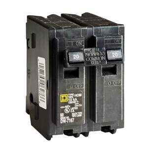 Square D HOM220CP Homeline 20-Amp Double Pole Plug-On Circuit Breaker