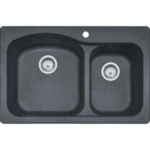 FrankeUSA DIG62F91-GRA 33 x 22-Inch Granite Graphite Double Bowl Kitchen Sink