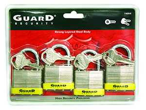 Howard Berger/Ultra Lock 740X4 Uard Security 740x4 Laminated Steel Padlock With 1-1/2-Inch Standard Shackle Keyed Alike, 4-Pack