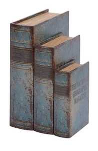 Uma Enterprises Inc. 59372 Book Box Wood and Leather Set of 3