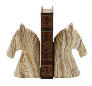 Uma Enterprises Inc. 59718 Ceramic Marble-Finish Horse Head Bookends 4X8