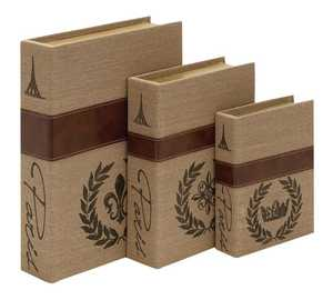 Uma Enterprises Inc. 62253 Wood and Burlap Book Box Set of 3