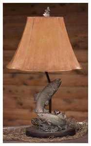 Vintage Verandah L7077LAZ Fish 25 in H Table Lamp 5/7 x 13/15 x 10.5 Brown Brush Fau X Leat