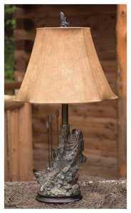 Vintage Verandah L697ABZG Bass 26.5 in H Table Lamp 6/8 x 11/16 x 11 Brown Brush Fau X Leath