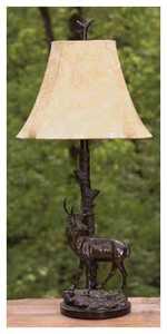Vintage Verandah L7078AZG Deer 31 InH Table Lamp 5/7 x 13/15 x 11 Fau X Leather