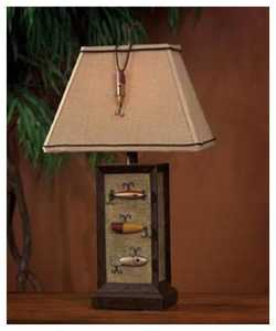 Vintage Verandah CL2639 Fishing Lure 28 in H Lamp 5/8 x 9/14 x 10 Burlap W/Trim