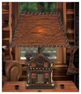 Vintage Verandah CL2648 < Log Cabin Table 23.5 in H Lamp 7/10 x 12/16 x 10 Mica W/Twig