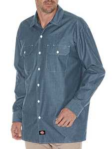 Dickies WL509BU Medium Blue Chambray Relaxed Fit Long Sleeve Shirt