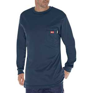 Dickies DFL511NV Medium Navy Flame-Resistant Long Sleeve T-Shirt