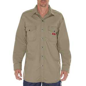 Dickies RL302KH Flame-Resistant Long Sleeve Twill Snap Front Shirt M