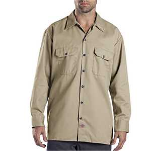 Dickies 574KH Large Khaki Long Sleeve Work Shirt